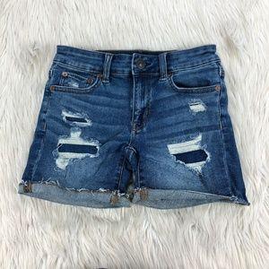 AEO Distressed Midi Denim Shorts